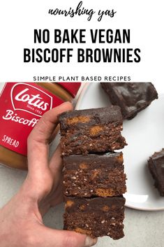 No Bake Chocolate Biscoff Brownies - Nourishing Yas