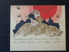 Vintage 1920s Christmas Greeting Card Art Deco fashionable woman gold details