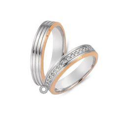 Γαμήλιες δίχρωμες ροζ-λευκές βέρες CHRILIA 32 σε ματ φινίρισμα ριγέ η ανδρική και σειρε η γυναικεία | Βέρες ΤΣΑΛΔΑΡΗΣ στο Χαλάνδρι #βερες #γάμου #wedding #rings #Chrilia #tsaldaris Wedding Rings, Engagement Rings, Jewelry, Enagement Rings, Jewlery, Bijoux, Schmuck, Wedding Ring, Pave Engagement Rings