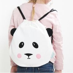 Style your kids with this Panda Love Drawstring Bag which is great for just that… everyday use! A very practical drawstring bag with drawcord closure that allows this bag to double a Drawstring Bag Diy, Diy Tote Bag, Mochila Tutorial, Animal Bag, Panda Love, Baby Kind, Kids Bags, Kids Backpacks, Cloth Bags