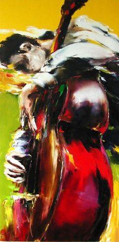 contre basse - Peinture,  80x160 cm ©2005 par Christian Vey -