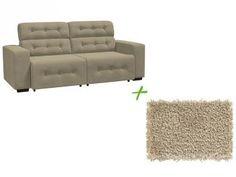 Sofá 4 Lugares Retrátil e Reclinável Revestimento - Suede Prince Linoforte + Tapete para Quarto/Sala