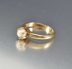 Vintage Gold Solitaire Pearl Engagement Ring – Boylerpf