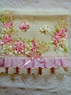 ribbon flowers on lace fabric Leather Embroidery, Silk Ribbon Embroidery, Floral Embroidery, Embroidery Stitches, Hand Embroidery, Nursery Crafts, Bathroom Crafts, Ribbon Art, Ribbon Crafts