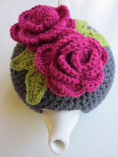 Why Didn't Anyone Tell Me?: Sharing the tea cosy love! Great crochet directions for large Rose and leaf pattern! Plus it's FREE!