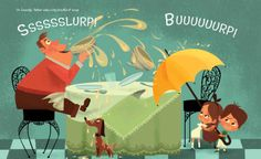spread from No Slurping, No Burping! by Kara LaReau, illustrated by Lorelay Bové