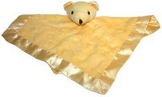 Tadpoles Yellow Bear Minky Velour Satin Security Blanket Lovey #Tadpoles