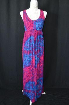 Liz Lange Maternity Medium Pink Blue Sleeveless Maxi Dress Long Worn Once #LizLange #Maxi #Casual