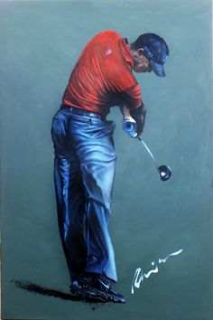 Tiger Woods portrait by Mark Robinson... #golf #art