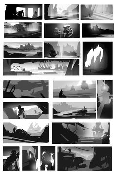 Storytelling and Composition Storyboard, Environment Sketch, Environment Design, Landscape Sketch, Landscape Concept, Digital Painting Tutorials, Art Tutorials, Thumbnail Sketches, Concept Art Tutorial