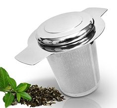 Teablee Brew-in-mug Tea Infuser Steeper Strainer Filter Basket with Lid Extra-fine Mesh Is Best for Infusing Steeping Loose Leaf Great Gift Idea for Mom Grandma Weddings