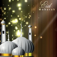 Vector beautiful mosque with glowing star and abstract background eid mubarak…