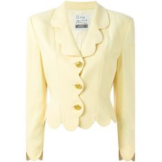 Moschino Vintage Scalloped Blazer (54.815 RUB) ❤ liked on Polyvore featuring outerwear, jackets, blazers, beige blazer, moschino blazer, blazer jacket, beige jacket and cream blazer