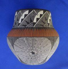 Native American Acoma Pottery Hand Painted Pot by Jay Vallo! Fine Line  | eBay
