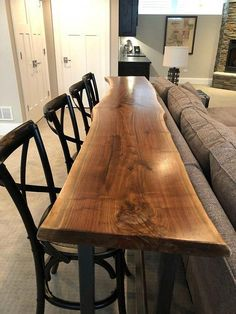 home Bar Table - Live Edge Slab Bar Table Sofa Table Black Walnut Console Home Bar Top Pub Table Natural Edge Slab Rustic Industrial Farmhouse Modern. Home Bar Table, Bar Tables, Dining Tables, Black Dining Room Table, Dining Sofa, High Top Tables, Black Table, Outdoor Dining, Coffee Tables