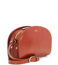 A.P.C. Demi-Lune brown leather shoulder bag