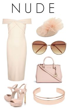 """NUDE"" by nafila-winardi on Polyvore featuring River Island, KG Kurt Geiger, Express, Rosie Olivia, Michael Kors and Leith"