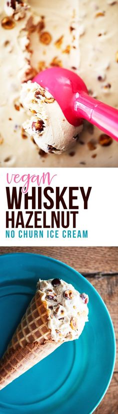 A healthy twist on vegan ice cream - with just enough 'bad' to make it fun. A creamy, maple and whiskey ice cream base with crunchy roasted hazelnuts folded in. A delicious, slightly-boozy frozen treat. Its healthy and delicious Brownie Desserts, Oreo Dessert, Coconut Dessert, Mini Desserts, Frozen Desserts, Just Desserts, Healthy Vegan Dessert, Vegan Dessert Recipes, Vegan Recipes