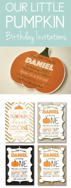 Find 5 great ideas for a pumpkin themed birthday party invite. Click through to find matching games, favors, thank you cards, inserts, decor, and more. Or shop our 1000+ designs for all of life's journeys. Weddings, birthdays, new babies, anniversaries, and more. Only at Aesthetic Journeys