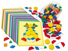 Wooden Pattern Blocks at Lakeshore Learning (Need both books and cards)