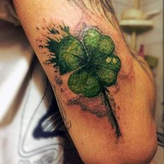 Watercolor Realistic Four Leaf Clover Mens Arm Tattoo