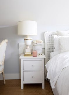 Lovely and Cool Narrow Bedside Table design ideas Part 13 ; Bedside Table Decor, Ikea Nightstand, Bedside Table Design, Small White Bedside Table, White Nightstand, Table Lamps, My New Room, My Room, Home Bedroom