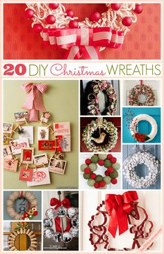 20 Gorgeous DIY Christmas Wreaths at the36thavenue.com Great and festive ideas! Our favorite at philoSophie's is the wreath made of Holiday Cards! www.shopsophies.com for some of our Holiday cards!