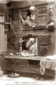 In homes with usually only one room, the box-bed allowed some privacy and helped keep people warm during winter. It was the main furniture of rural houses in Brittany until the 20th century. by celia