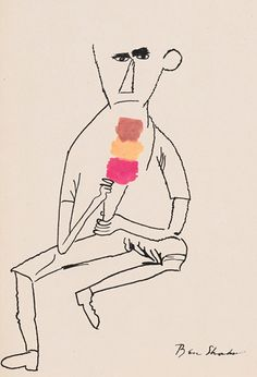 I love the contrast in this illustration by artist Ben Shahn ~ the subject's demeanor vs. the brightness of the ice cream cone. Line drawing vs. gobs of color. Illustrations, Illustration Art, Ice Cream Illustration, Ben Shahn, Graffiti Artwork, Alberto Giacometti, You Draw, Painting & Drawing, Watercolor Drawing