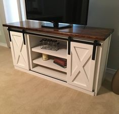 Tv stand with barn doors in 2019 diy tv stands комод, идеи д Tv Stand Makeover, Diy Tv Stand, Tv Furniture, Farmhouse Furniture, Living Room Furniture, Living Room Decor, Furniture Websites, Barn Door Tv Stand, Tv Stand With Doors