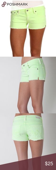 """AG """"Daisy"""" Melon Low-Rise Cutoff Shorts AG Jeans """"Daisy"""" style shorts, low-rise with sewn slit on the sides. Worn under 5 times, then lost weight so had to retire them. Essentially new. AG Adriano Goldschmied Shorts Jean Shorts"""