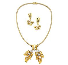 A Suite of Retro Gold and Diamond Jewelry, Necklace and Ear Pendants, by Van Cleef & Arpels, circa 1940. Via FD Gallery, www.fd-inspired.com