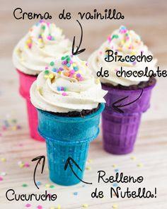 Objetivo Cup Cake Perfecto. Cucurucho relleno de Nutella,Crema de Vainilla y relleno de Nutella.