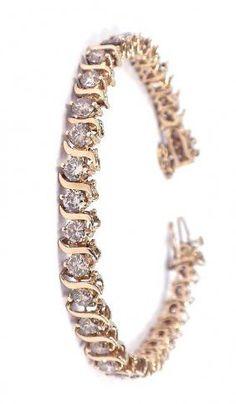 14k Yellow Gold and Diamond Tennis Bracelet