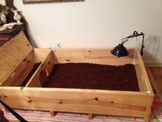 Our Russian Tortoise's new enclosure that my husband built. :)