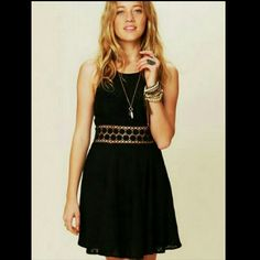 Free People Fitted With Daisies Texturized fit-n-flare tank mini dress with daisy chain cutout detailing around waist. Zips up the back. Free People Dresses Mini