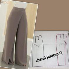 Pantalones modernos - - Tesettür Tunik Modelleri 2020 - Tesettür Modelleri ve Modası 2019 ve 2020 Dress Sewing Patterns, Sewing Patterns Free, Clothing Patterns, Sewing Pants, Sewing Clothes, Löchrige Jeans, Costura Fashion, Wrap Pants, Pattern Drafting
