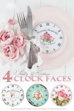 Free freebie printable 4 shabby chic clock faces