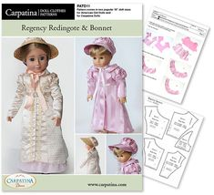 """Regency Redingote and Bonnet Doll Clothes Pattern as PDF File, Comes in 2 sizes: for 18"""" American Girl and slim Carpatina dolls on Etsy, $12.27 CAD"""