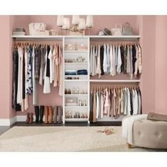 ClosetMaid Impressions Basic 60 in. W - 120 in. W White Wood Closet - The Home Depot ClosetMaid Impressions 5 ft. D x 120 in. W x 83 in. H White Basic Laminate Closet System - 53861 - The Home Depot Glam Bedroom, Closet Bedroom, Bedroom Decor, Pink Closet, Decor Room, Bedroom Girls, Bedroom Vintage, Organize Bedroom Closets, Spare Room Closet