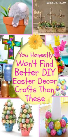 Home Decor On A Budget Elegant Dollar Store DIY Easter Crafts Decorations Ideas for the home, and outdoor. Includes Christian and Farmhouse crafts kids and adults can make for the table and centerpieces. Easter Projects, Easter Crafts For Kids, Easter Stuff, Diy Projects, Diy Easter Decorations, Decoration Table, Spring Crafts, Holiday Crafts, Mason Jars