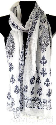 Long cotton scarf, White cotton scarf, Block print scarf with fringe by KavitaKriti, $45.00