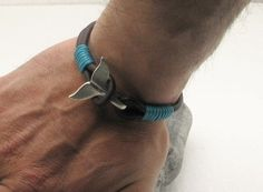 Men's leather bracelet Black leather muti strap leather bracelet with silver plated whale tail clasp
