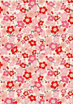 Pink Plum Blossom Japanese Yuzen Chiyogami Washi by mosaicmouse