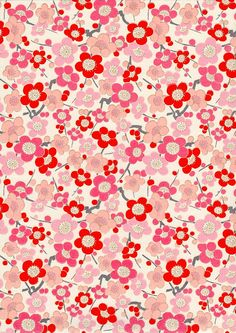 Pink Plum or Cherry Blossom Japanese Yuzen by mosaicmouse on Etsy, $2.00