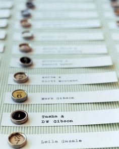 "See the ""Typewriter Key Escort Cards"" in our Unique Seating Cards and Displays gallery"