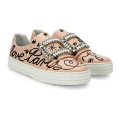Roger Vivier Sneaky Viv Love Paris Leather Slip-On Sneakers (94.770 RUB) ❤ liked on Polyvore featuring shoes, sneakers, light pink, leather trainers, pull on shoes, leather slip on sneakers, roger vivier and real leather shoes
