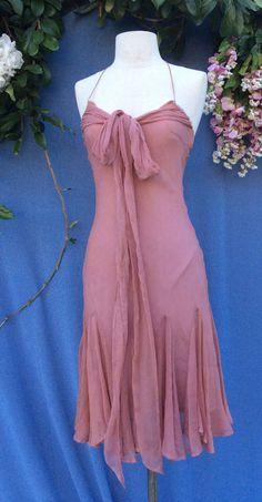 Halter Plum silk cocktail dress//Summer Silk by KisKissay on Etsy, $55.00