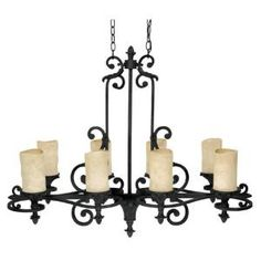 Filament Design 8-Light 35 in. Chandelier Wrought Iron Finish Rust Scavo Glass-CLI-CPT203394946 at The Home Depot