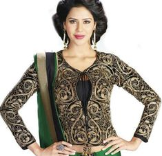 Black Embroidered Velvet Full Sleeves High Neck Jacket Blouse Full Sleeves Blouse Designs, Saree Blouse Designs, Dimples, Indian Dresses, Velvet, Patterns, Long Sleeve, Sweaters, Jackets